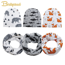 Bratyeessi Cotton Baby Beanie Hats and Scarf