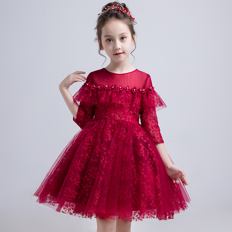 Princess Red Pears   Flower     Girl     Dresses   2019 Pageant   Dresses   for   Girls   First Communion Gowns Birthday Party   Dress