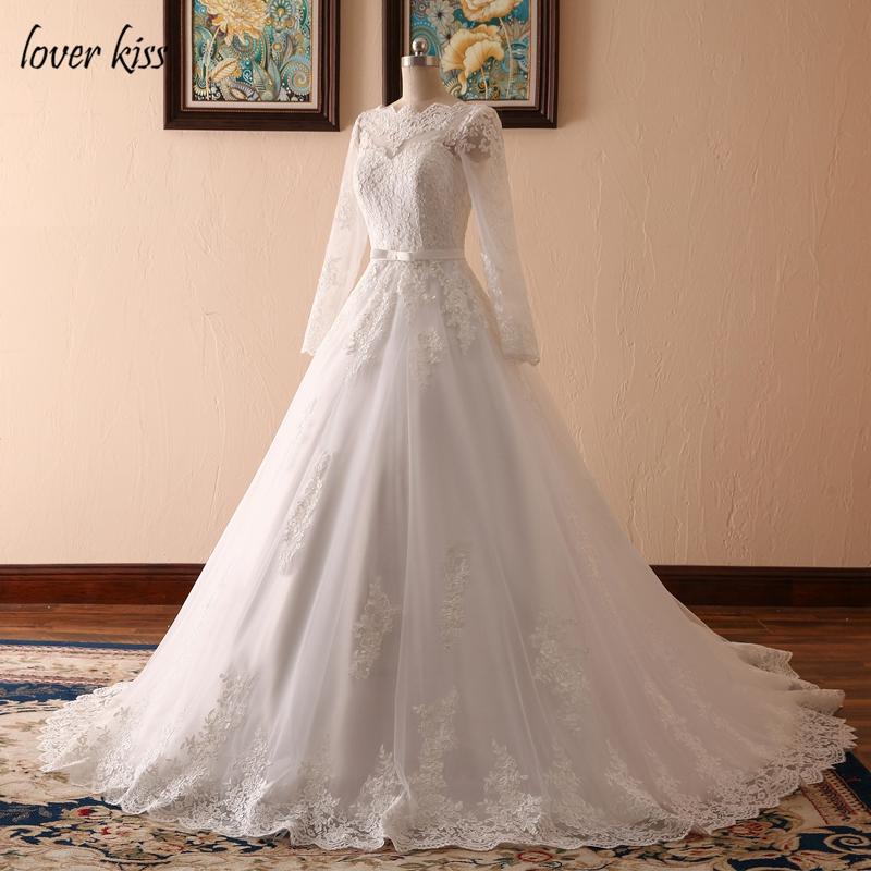 Lover Kiss Vestido De Noiva Custom Sheer Tulle Long Sleeve Wedding Dress Corset Back Lace Ball Gown Bridal Gowns For Weddings 3