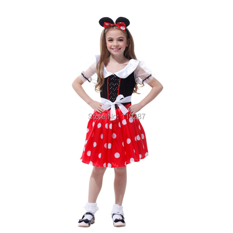 2017 naughty mouse girls princess fancy carnvial party children costume halloween cosplay stage costumes red dots dress in girls costumes from novelty - Naughty Girl Halloween Costumes
