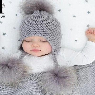 fa89d85d45d 6 months to 4 years Cute Toddler Kids Girl Boy Baby Infant Winter Warm  Crochet Knit ear Hat pompom Beanie Cap for children kids