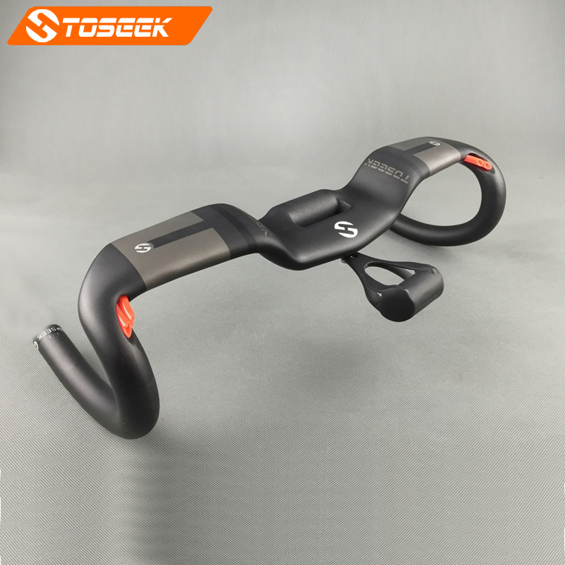 TOSEEK new full carbon fiber road bike handlebar bent bar bicycle handlebar with cable holder matte 400/420/440mm bike parts full carbon fiber bicycle bike code table holder frame bicycle handlebar mount frame computer holder for red