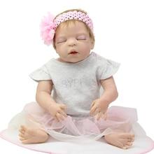 NPK Collection 22 Inch Realistic Baby Dolls Newborn Girls Full Silicone Vinyl Sleeping Newborn Doll Kids Birthday Xmas Gift