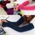 Плюшевые норки кашемира перчатки леди прекрасный с длинным рукавом зимний сгущает рука рукав корпус утечки относится к поддельные кашемировые рукава