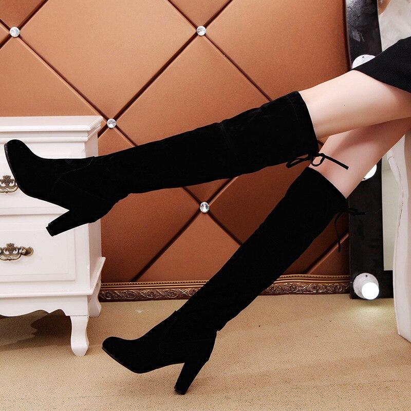 Grande Genou Taille Dames Chaussures Cuir Bottes En De Daim Jambe Noir 43 Femmes Mince Long Velours Tuyau Poêle Moto Neige gris Sur Haute Boties rouge 35 Botas QdxshCBtr