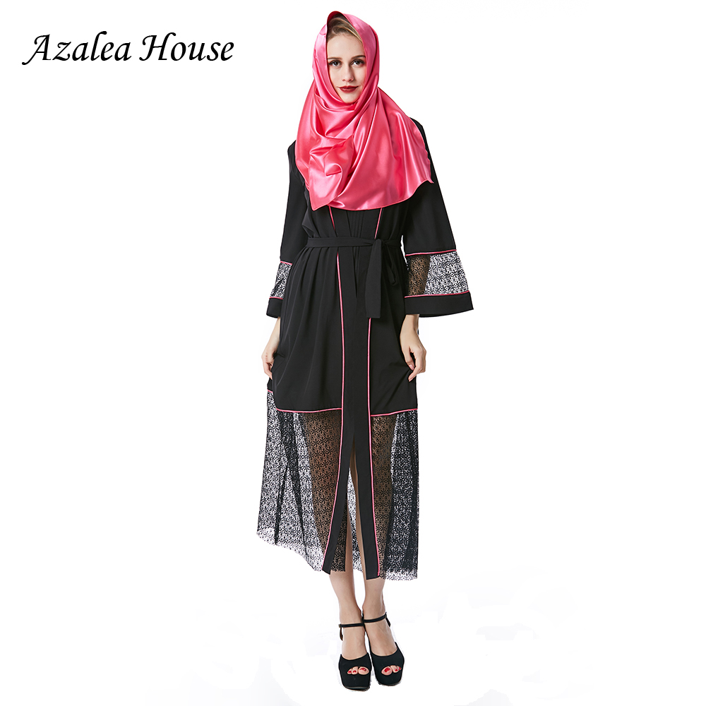 43ab16542264e 2018 Azalea House Muslim Women Dress Solid Plus Size Black Robe abaya islam  Dresses Long sleeve Kaftan Brand Fashion Dress