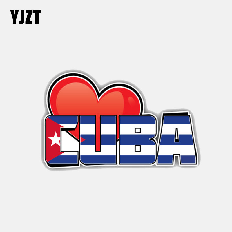 YJZT 11.4CM*7CM Personality Cuba Heart Flag Motorcycle Helmet Decal Car Sticker 6-3025