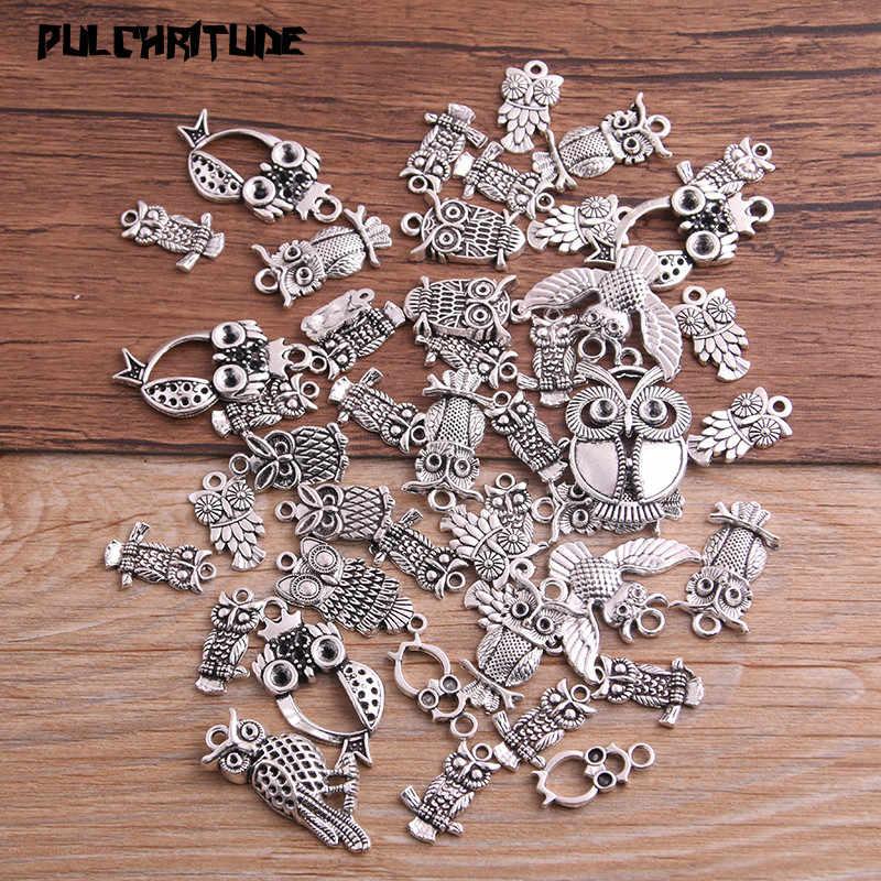 Pulchrode 20 шт винтажные металлические Смешанные двухцветные подвески в виде совы для самостоятельного изготовления ювелирных изделий ручной работы P6667