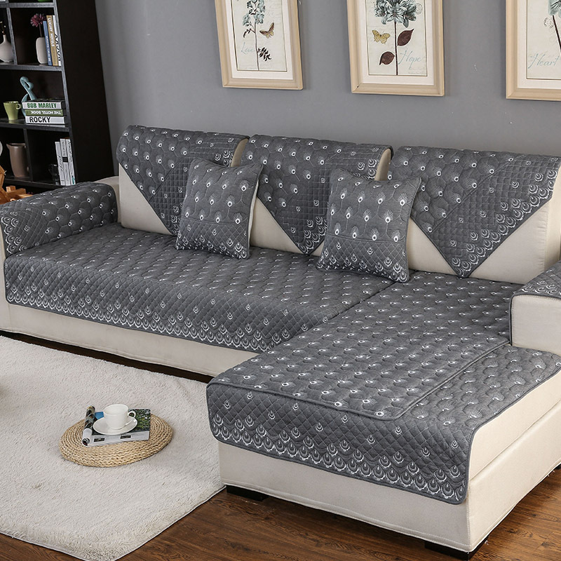 Aliexpress.com : Buy Four Seasons Sofa Towel Gray Couch Covers Peacock  Pattern Beautifully Embroidered Sofa Cushion Sofa Cover For Corner Sofa  Decor From ...