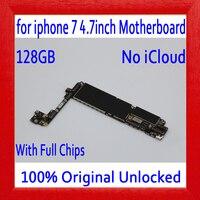 Бесплатная доставка, 100% оригинал разблокирована для iphone 7 материнская плата без Touch ID, 128 ГБ для iphone 7 печатная плата с полным чипом