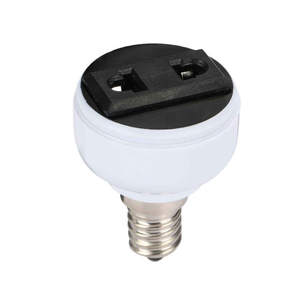 Durable <font><b>Lamp</b></font> Adapter <font><b>E14</b></font> To Two-Pin Power <font><b>Socket</b></font> Household Supply Light Parts Bulb Holder For EU/ US Plug image