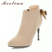 Meotina Women Winter Boots High Heel Pointed Toe Ankle Boots Bow Ladies Sexy Party Shoes Velvet