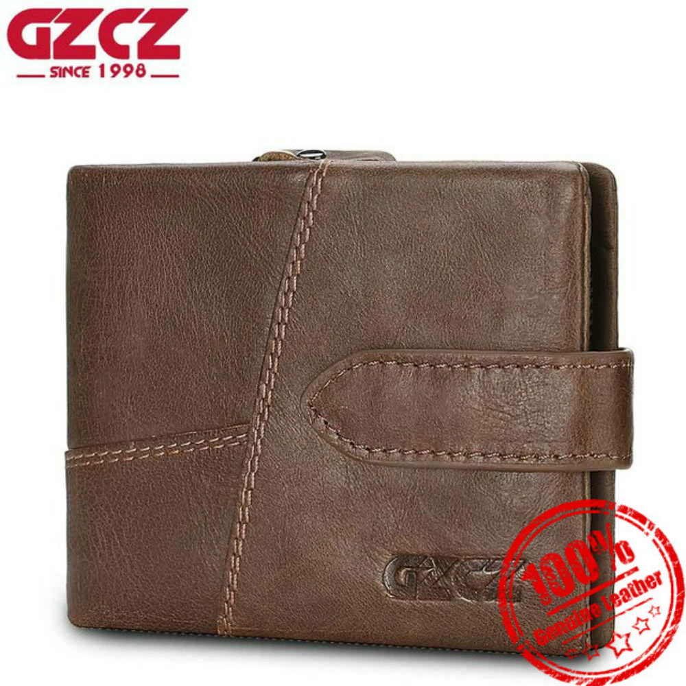 GZCZ Genuine Leather Men Wallets Fashion Designer Luxury Brand Wallet with Coin Pocket Male Walet Purse Card Holder Money Bags
