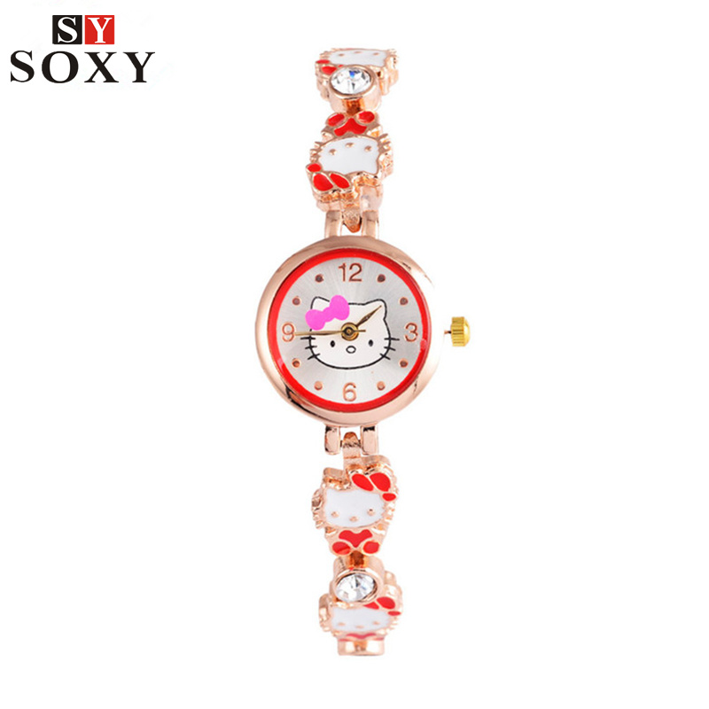 Hello Kitty Watch Children's Watches Kids Watches Cartoon Girl Bracelet Watch Kids Baby Clock Children Gift saat relogio reloj kid baby hello kitty watches 2017 children cartoon watch kids cool 3d rubber strap quartz watch clock hours gift relojes relogio