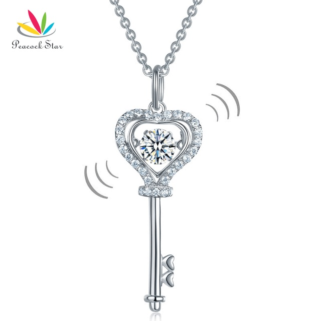 Peacock star key heart dancing stone kids girl pendant necklace peacock star key heart dancing stone kids girl pendant necklace solid 925 sterling silver children jewelry mozeypictures Images