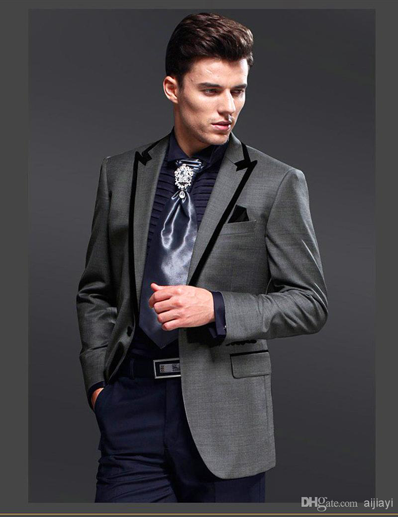 Hot Homecoming Suit Custom Made Charcoal Grey Groom Tuxedos Peak