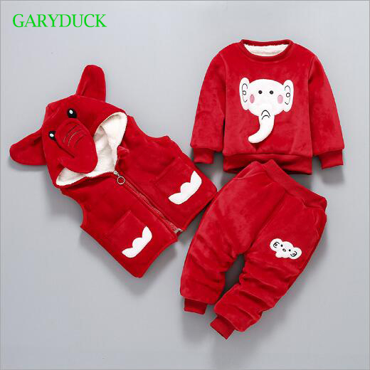 Winter baby Clothing Set Cartoon Elephant Baby boys Girls long sleeve shirt+vest+Full Pants 3PCS Set Suit Children clothing cotton baby rompers set newborn clothes baby clothing boys girls cartoon jumpsuits long sleeve overalls coveralls autumn winter