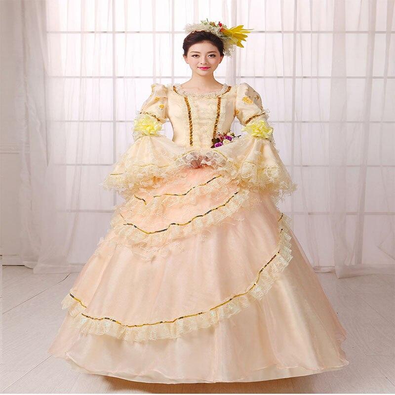 Индивидуальные 2018 летние длинные расклешенные рукава Ренессанс рококо вечерние платья Marie Antoinette вечерние бальные платья для дам
