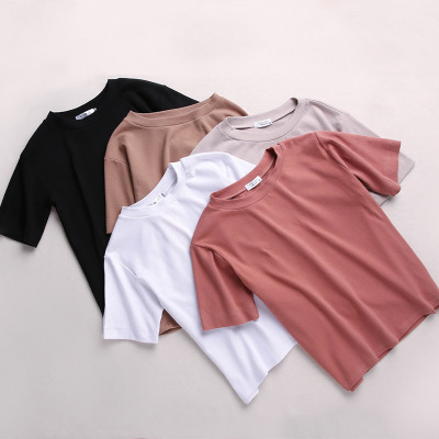 Shirt Tops Tee Short-Sleeve O-Neck Loose Korean Casual Femme Cotton Summer Solid Students