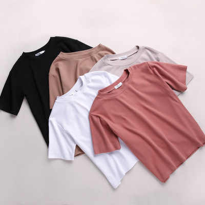 New 2019 Summer Solid Short Sleeve T-shirt Female Casual Loose Korean Students BF Cotton O-neck Tee Shirt Tops Femme