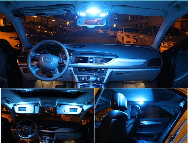12pcs white ice blue led lamp car bulbs interior package - Blue light bulbs for car interior ...