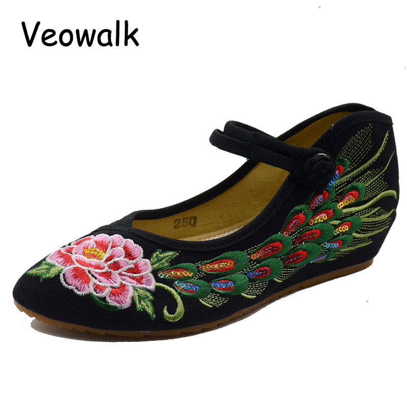 Veowalk Peacock Sequins Women's Canvas Embroidered Flat Shoes Pointed Toe Vintage Embroidery Mary Janes for Elegant Ladies vintage embroidery women flats chinese floral canvas embroidered shoes national old beijing cloth single dance soft flats