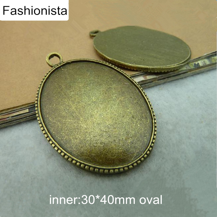 18pcs//lot Vintage Silver Alloy Oval Tray Base Pendant Charms Jewelry Accessories