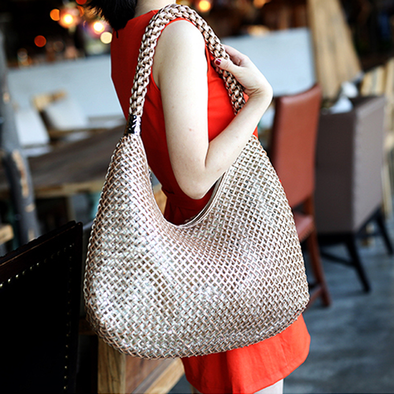 Women's Woven Leather Half Moon Handbag Criss-Cross Knitting Hobo Gradient Dumpling shoulder Bags Hollow out Casual Beach Tote chic geometric print hollow out criss cross women s bikini set