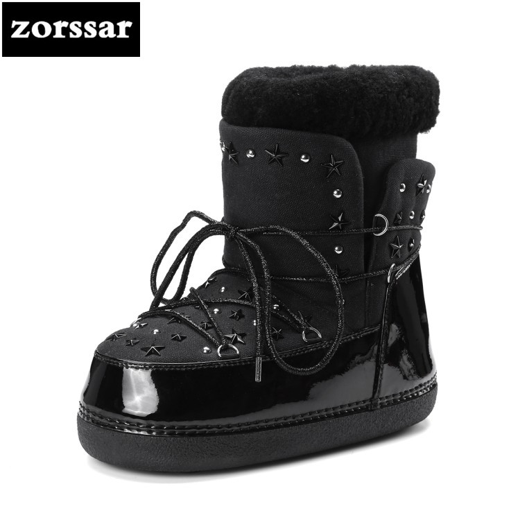 {Zorssar} 2019 Winter Plush Womens Snow boots Genuine Leather flat ankle Boots Female Warm fur Insole high quality Botas Mujer zorssar 2019 women s shoes winter plush women snow boots cow suede leather flat ankle boots female warm fur insole botas mujer