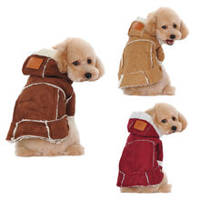 Fashion Outfit Soft Hooded Clothing Winter Warm Dog Coat Suede Fabric Puppy Jacket Dogs Clothes Pet Supplies J2Y(China)