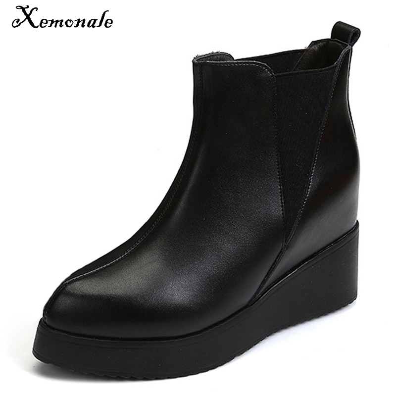 Xemonale Platform Women Boots 2016 Creepers Casual Wedges Shoes Woman Slip On Ankle Boots Fashion Flats Women Shoes WZH5417 phyanic 2017 gladiator sandals gold silver shoes woman summer platform wedges glitters creepers casual women shoes phy3323