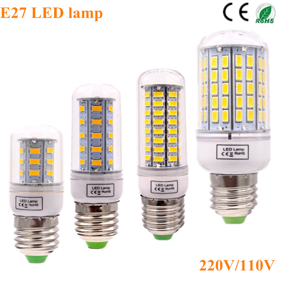 Bombillas LED Lamp Spotlight E27 SMD 5730 lamparas LED Light 36 72 96Leds  LED Bulb E27 220V Ampoule Candle Luz