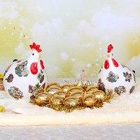 Расписанную керамические курица Декор пару с золотые яйца и одеяло творческие современные украшения дома свадебный подарок