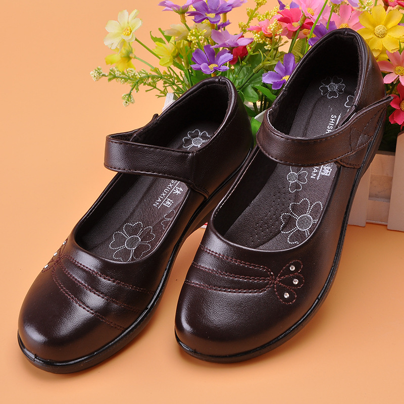 Spring/Autumn Women Flats 2018 New Leather Mother White Nurse Shoe Peas Work Shoes Comfortable Women Shoes Loafers Slip Home