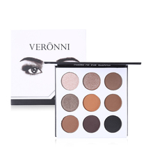 VERONNI Brand 9 Color Eyeshadow Makeup Palette Natural Nude Shimmer Matte Eye Shadow Warm Pigmented Powder Long Lasting Cosmetic