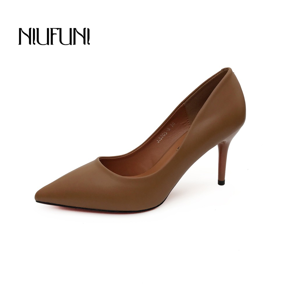 Fashion PU Leather High Heels Women Pumps Pointed Toe Work Pump Stiletto Woman Shoes Weeding Shoes Office Career Elegant Pumps(China)