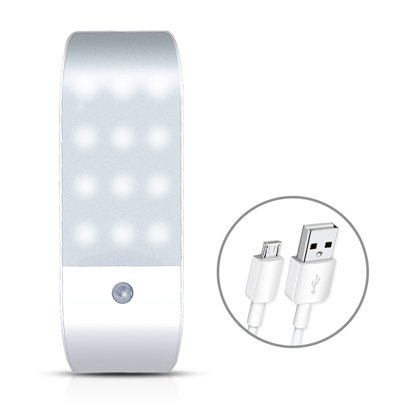 USB Rechargeable PIR Motion Sensor Night Light Wireless 12 LED Under Cabinet Closet Wardrobe Night Lamp W/Magnetic Auto/ON/OFF