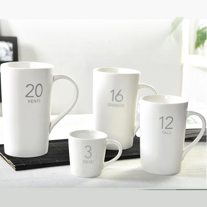 Brève Café Tasse Solide Couleur Café Tasse Mat Blanc 4 pcs/ensemble (3 oz 12 oz 16 oz 20 oz)