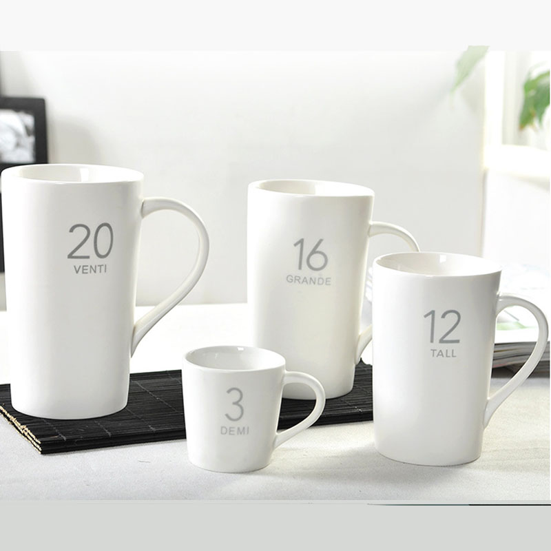 Us 31 91 6 Off Brief Coffee Cup Solid Color Mug Matt White 4pcs Set 3oz 12oz 16oz 20oz In Mugs From Home Garden On Aliexpress