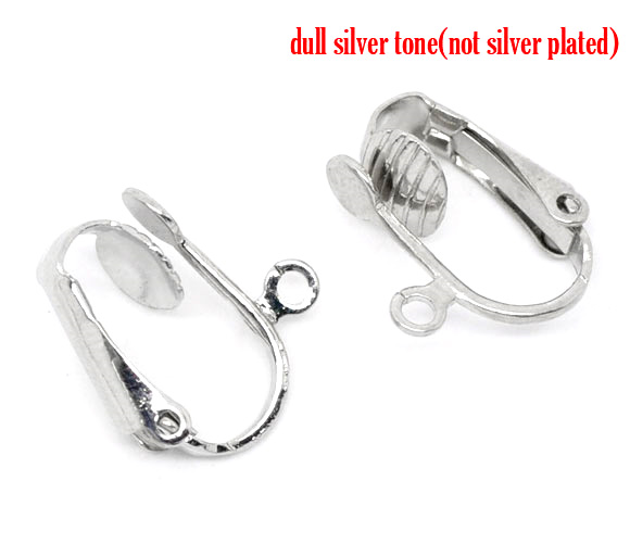 8SEASONS 10 Pairs Silver Tone Color Earring Clips W/Loop 16x14mm (B09973)