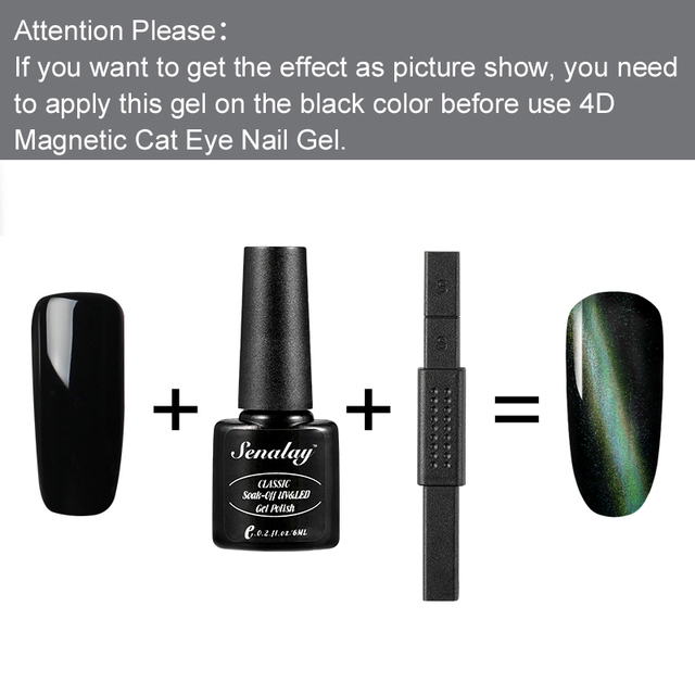 Senalay 4D Cat Eyes Magnet 6ML Nail Gel Polish Hybrid Primer Foundation Gel Polish Magnet Semi Permanent Varnishes For Nails 3