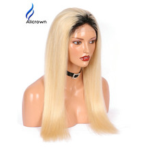 Alicrown #1BT#613 Blonde Color Dark Roots Brazilian Remy Human Hair Full Lace Wig Ombre Blonde Silky Straight Human Hair Wigs