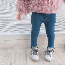 9d2f7d8ad80 Top Sale Denim Pants Girl Toddler Denim Pants Free Shipping Slim Jeans For Kids  Solid Jeans 2 Colors Children Wear Jeans Child