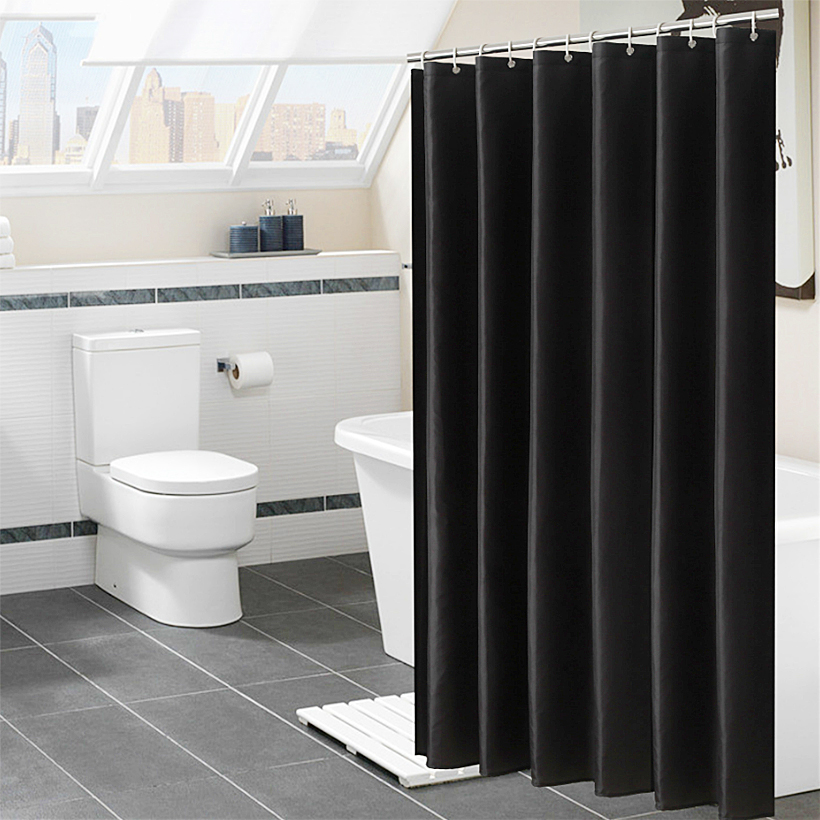 Solid Color Shower Curtain 180CM Waterproof Bathroom Partition Curtain White polyester moisture proof shower curtain D50