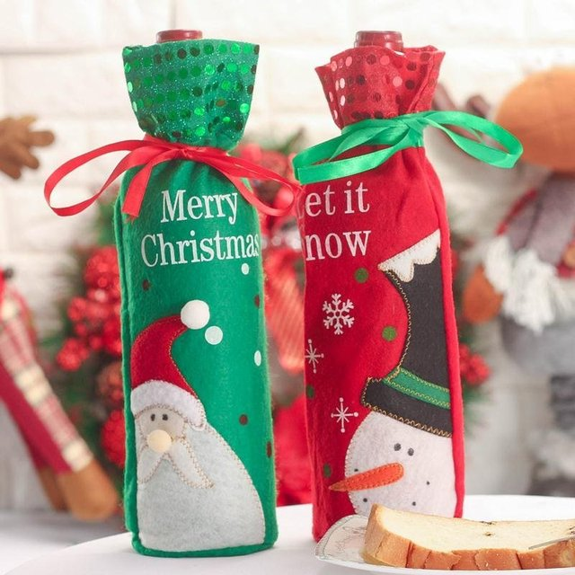 10pcs santa claus flannel wine bottle bag christmas gift bags champagne wine christmas green bags decorations - Wine Christmas Gifts
