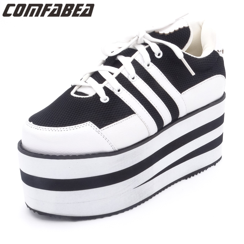 Ladies Platform shoes 2017 Spring Autumn Lace Up Casual Cool Shoes Flats Creepers Punk Harajuku high platform shoes women harajuku cartoon lace up wedges platform shoes 2015 casual shoes trifle thick soled graffiti flat shoes ladies creepers
