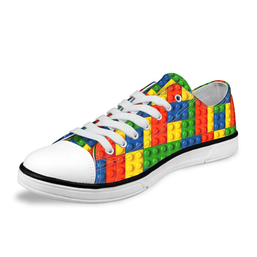 NOISYDESIGNS Stylish Tetris print Mens Vulcanize Shoes Breathable Classic Low-top Canvas Shoes for Men Male Zapatos de hombre