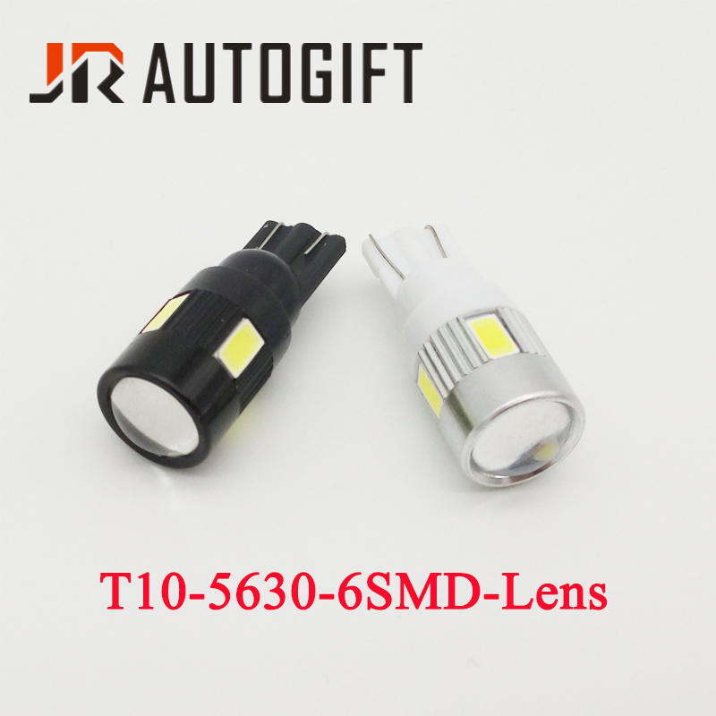 100Pcs T10 5630 6SMD Lens 194 168 W5W 6LED bulb 12V 24V 360 degree Car styling