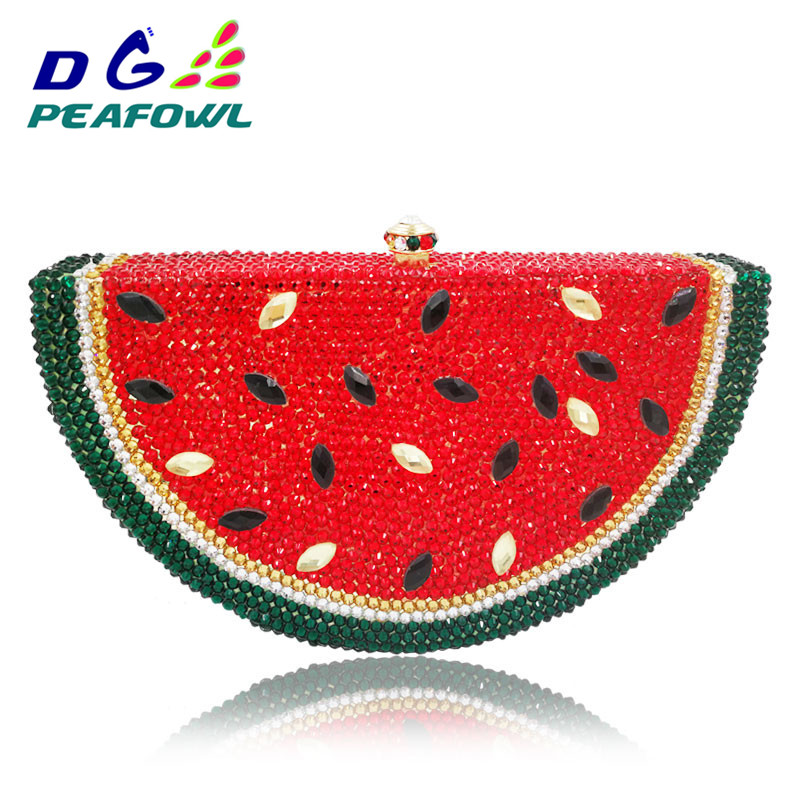 Fashion Fruit Watermelon Women Clutch Bag Crystal Clutches Lady Evening Handbags Diamond Phone Package Bridal Wedding Party PursFashion Fruit Watermelon Women Clutch Bag Crystal Clutches Lady Evening Handbags Diamond Phone Package Bridal Wedding Party Purs