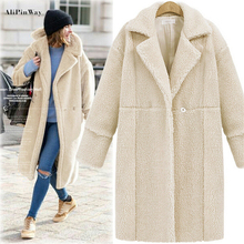 2016 Winter Women Faux Lapel Lamb Wool Coat Jacket Cardigan Long Section Long-Sleeved Warm Thick Cashmere Basic Trench Outwear
